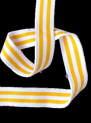 Rouleau ceinture Blanche 2 liserés Jaune Judo