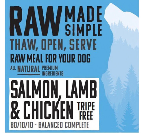 RMS Salmon Lamb and Chicken Complete Mix Tripe Free 500g