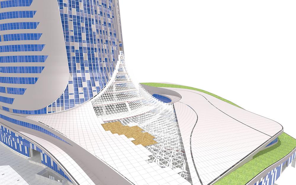 Details of the freeform roofline.