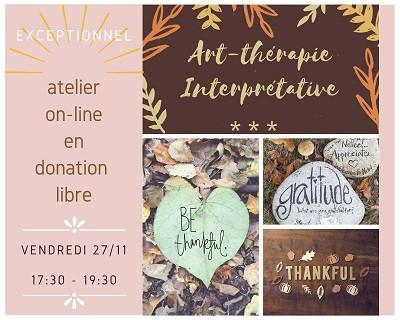 atelier exceptionnel d'art-thérapie en ligne, sur le thème de la Gratitude