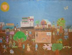 oeuvre collective - enfants et accompagnants - Inde