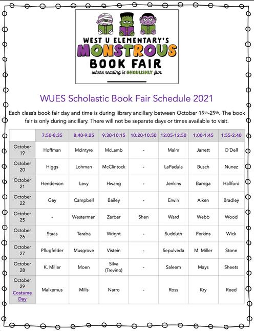 WUES Scholastic Book Fair Ancillary Schedule