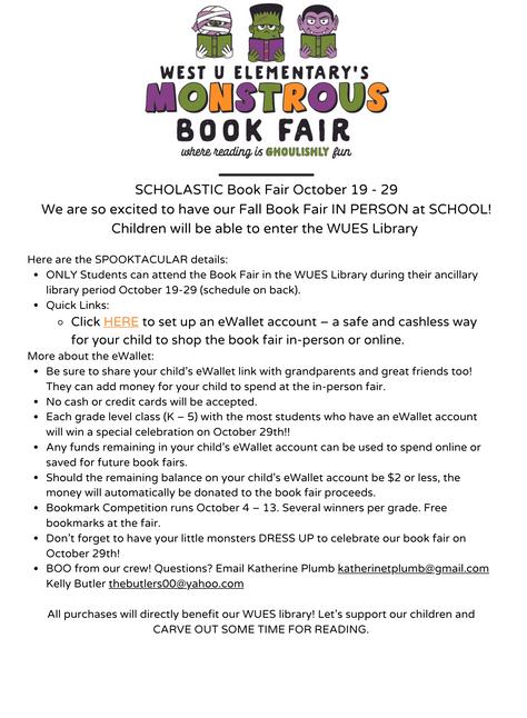 Fall Book Fair -Details
