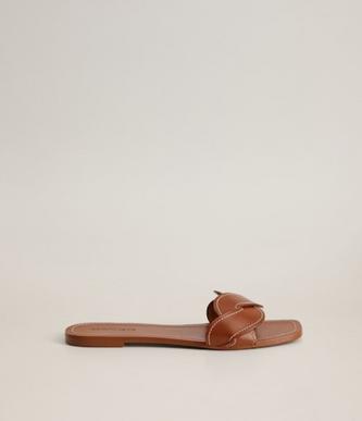 Mango Leather Braided Sandals