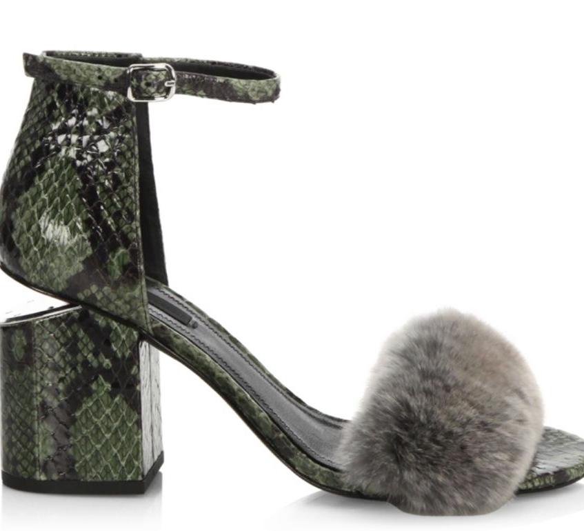 Abby Tilt-Heel Rabbit Fur & Snakeskin Sandals $695