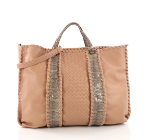 Bottega Veneta Convertible Shopping Tote Intrecciato Nappa with Snakeskin Large