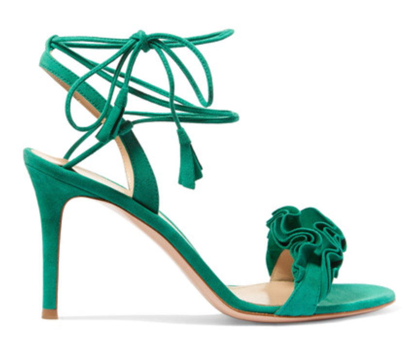 Ruffled suede sandals $945
