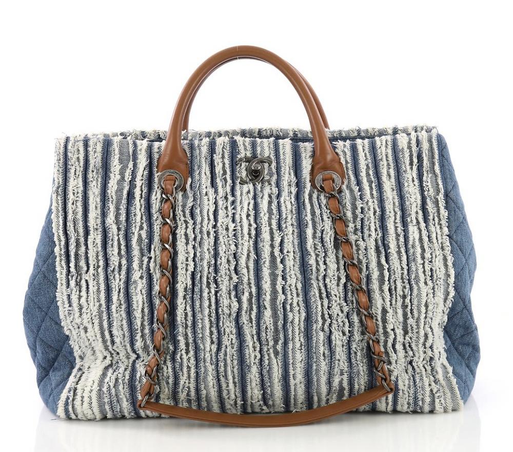 Chanel Shopping Tote Fringe Denim Large
