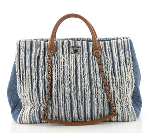Chanel Shopping Tote Fringe Denim Large