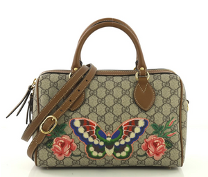 Gucci Convertible Boston Bag Embroidered GG Coated Canvas Small