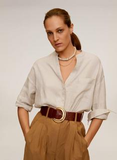 Mango Mao Collar Linen Shirt