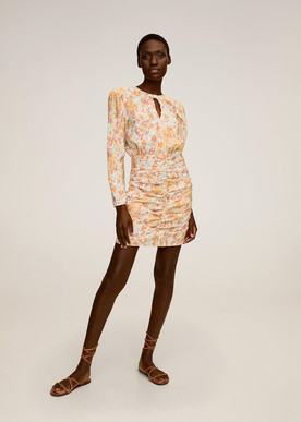 Mango Ruched Floral Dress
