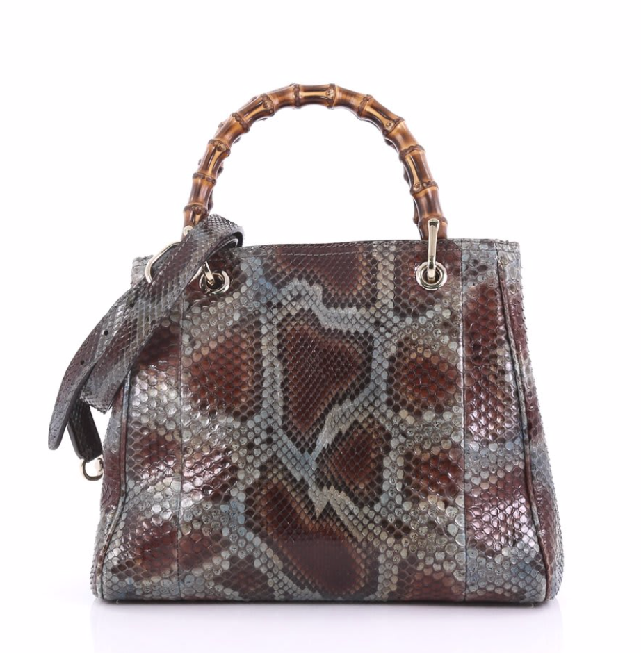 Gucci Bamboo Shopper Tote Python Small