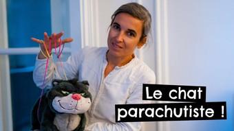 Le chat parachutiste !