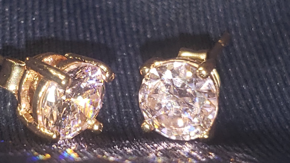 14kt Gold Plated CZ Studs Pink
