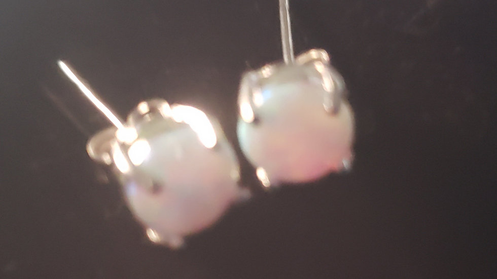 Rhodium Plated Colored CZ Studs White Pearl