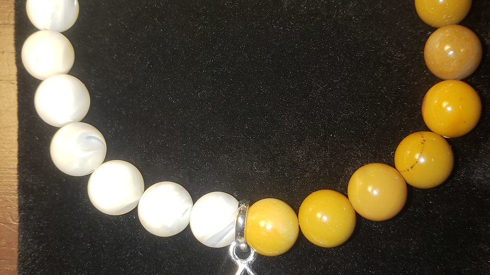 Natural Gem Stone Bead Bracelet with Charm