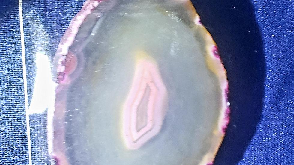 """Pink Agate Slab Necklace 2.5"""""""