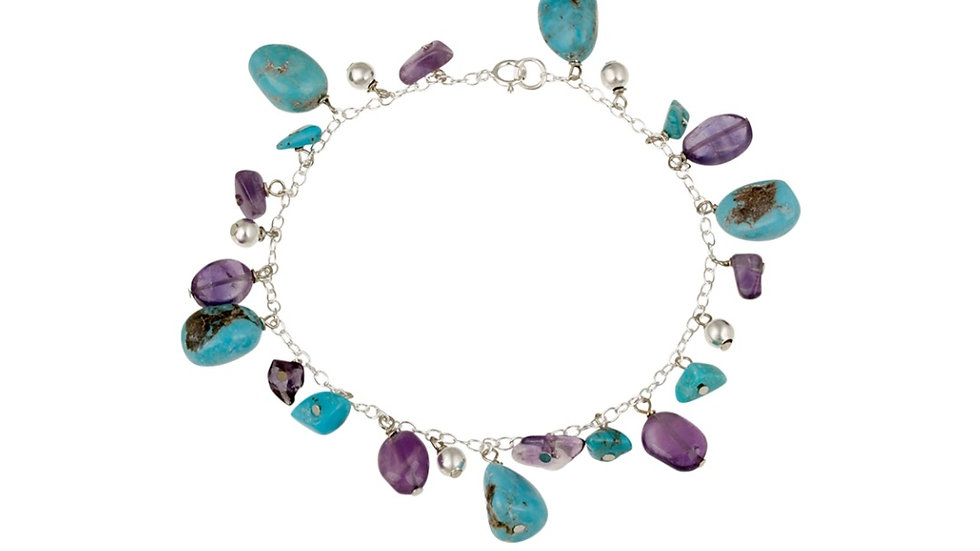 Sterling Silver Bracelet with Turquoise and Amethyst Nugget Stones Charm