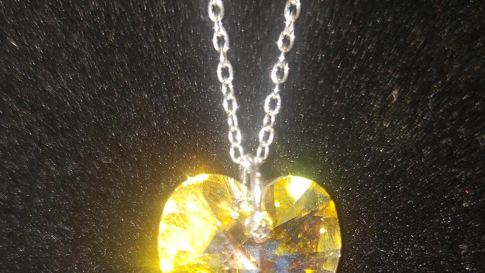 "Aurora Borealis Swarovski Crystal Heart Pendant on 18""Sterling Silver Chain"