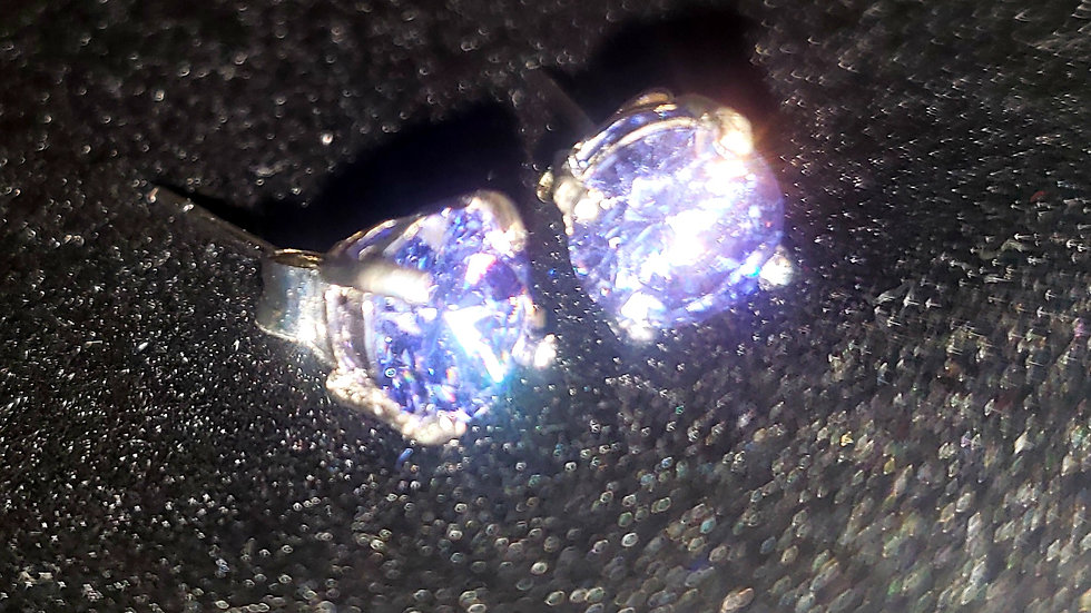Rhodium Plated Colored CZ Studs Purple