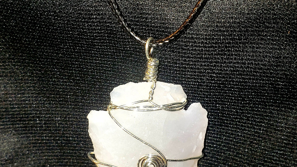 Silver wire wrapped White Jasper Arrow Heads/Necklace