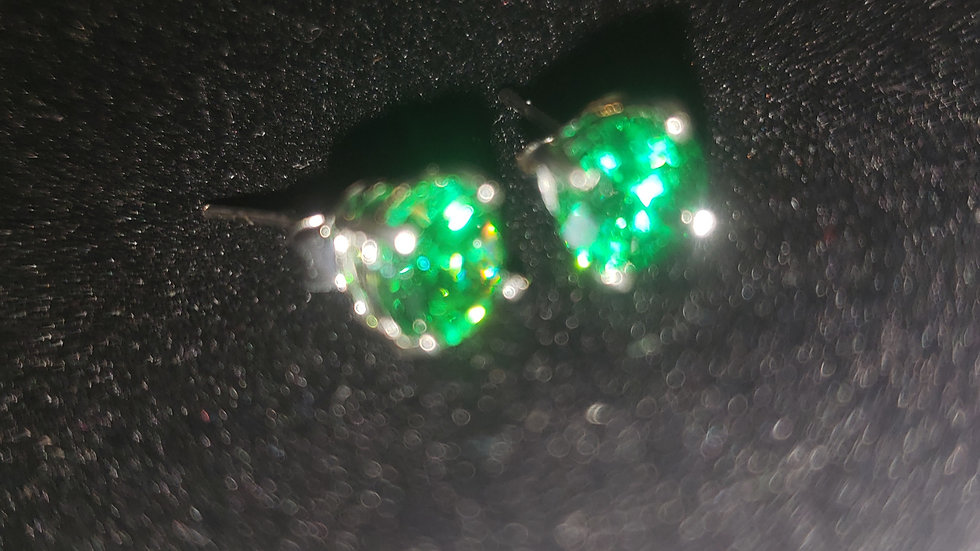 Rhodium Plated Colored CZ Studs Green