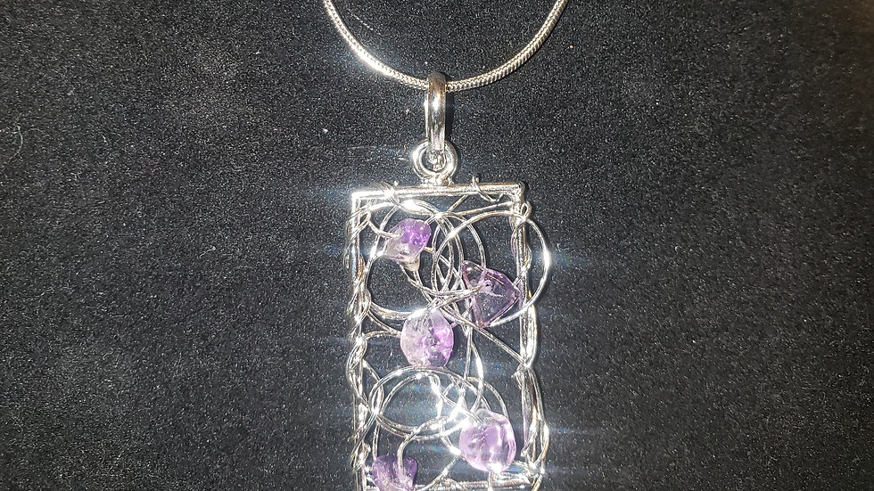 Web Pendant/Necklace with Natural Gem Stones