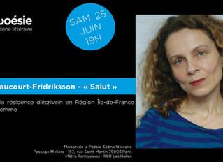 Le 25 juin 2016, à 19h, lecture à la Maison de la Poésie de Paris