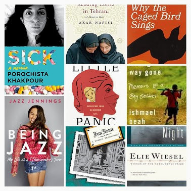 collage of memoir book covers