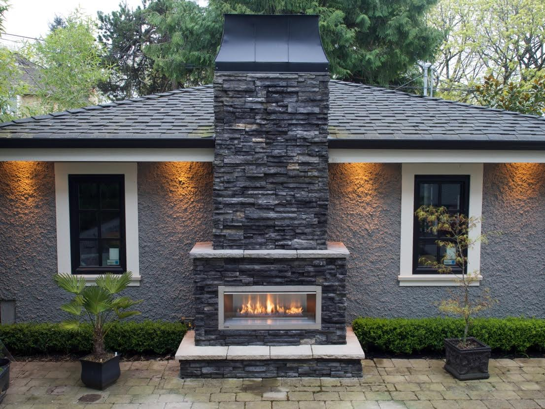 Fireplace facing with cap stones