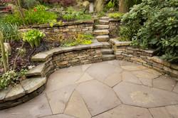 Basalt walls with flagstone patio