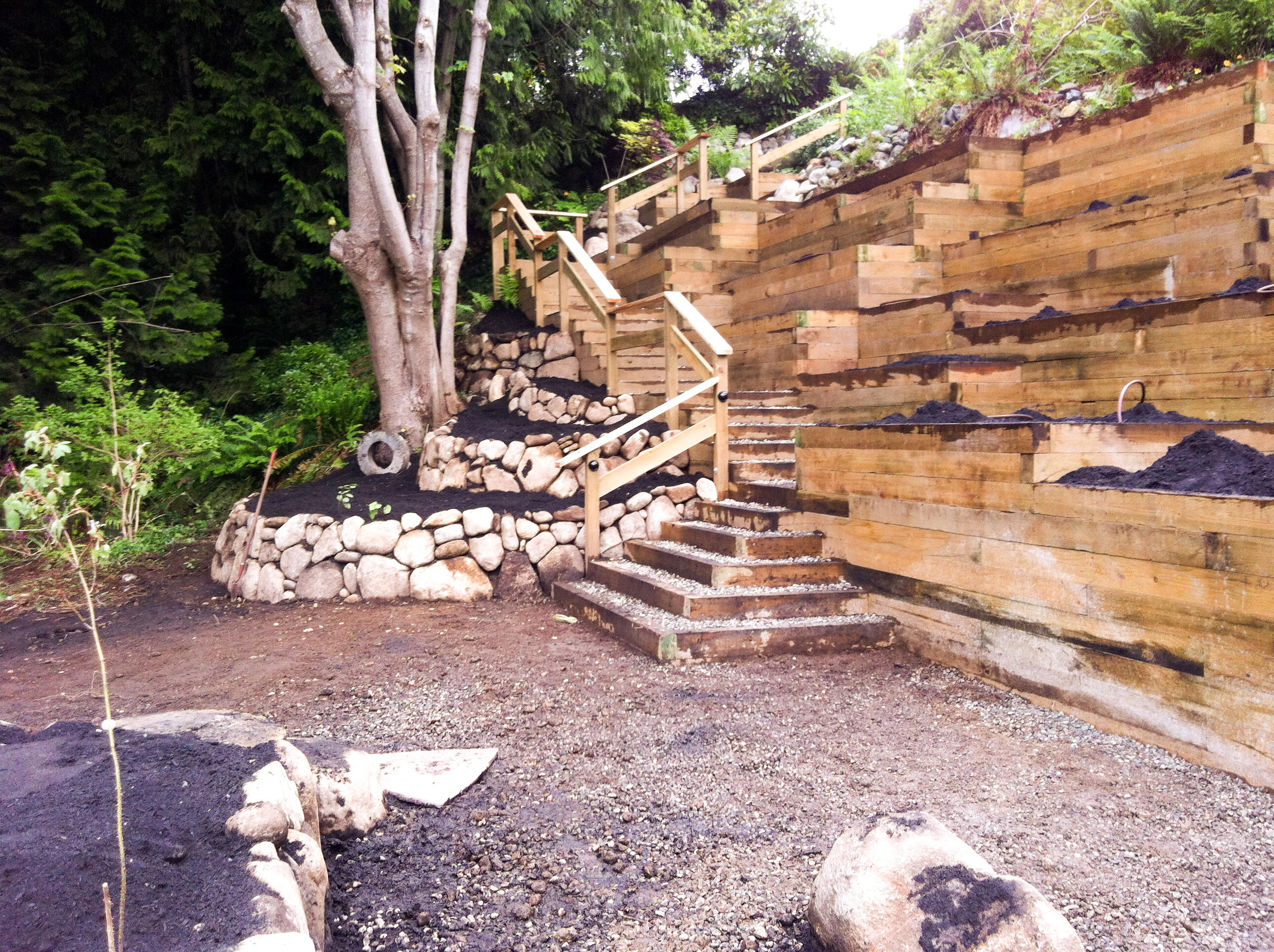 Tie-back garden retaining walls