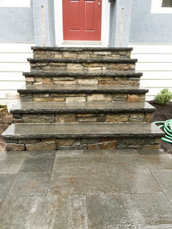 Stone facing on existing stairs
