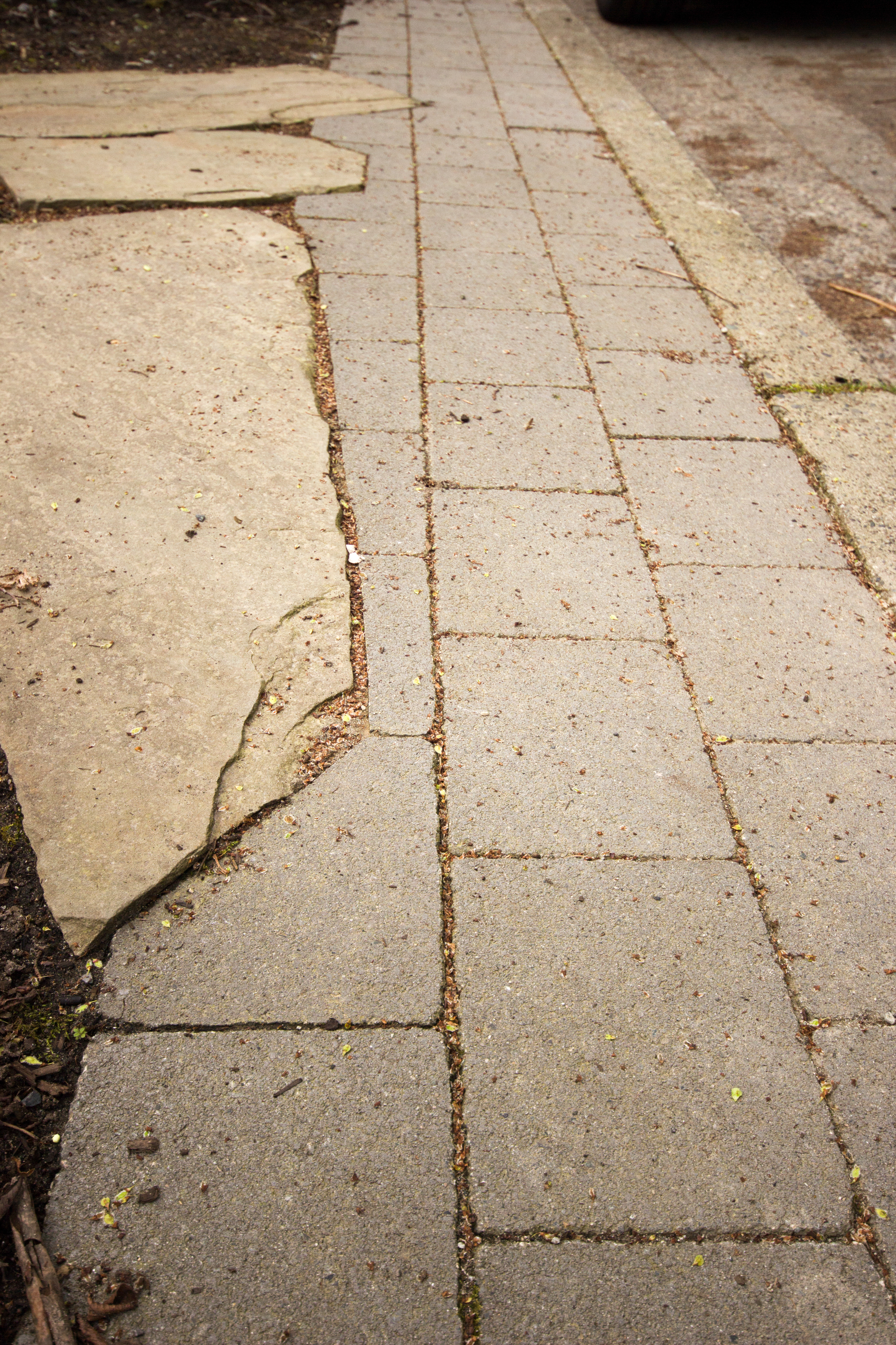 Flagstone meets paver pathway