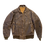 Thumbnail: Archive Distressed Brown Leather Bomber Jacket