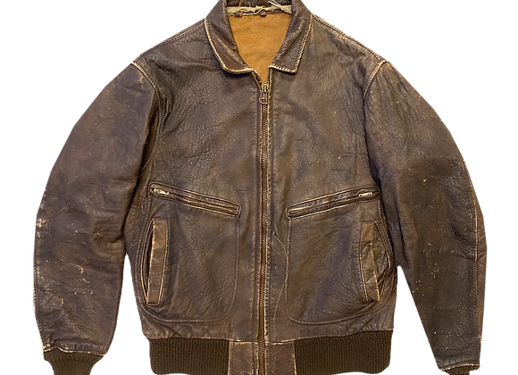 Archive Distressed Brown Leather Bomber Jacket