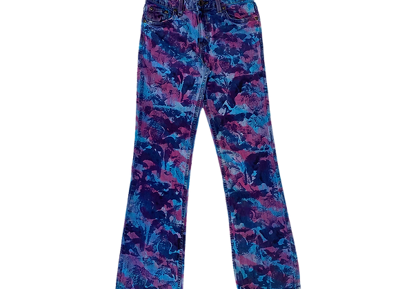Archive Hand Painted All-Over Print Flare Bottom Jeans