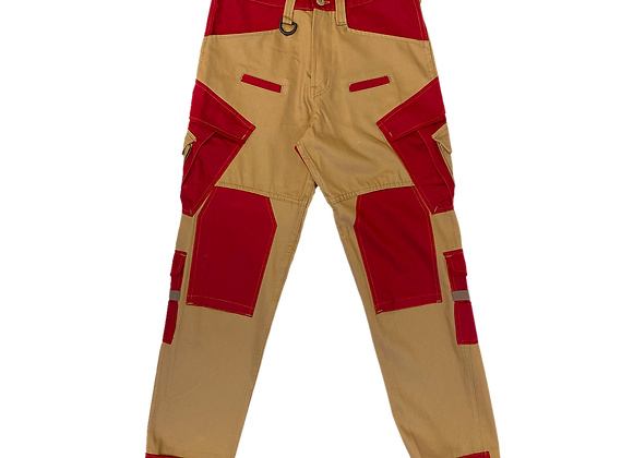 Gold & Red Cargo Utility Pants