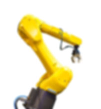 hand of modern yellow industrial robot w