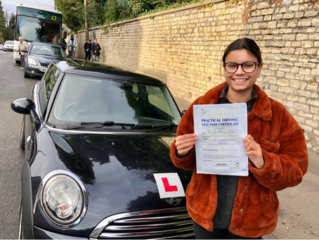 Congratulations Svenja on passing your driving test First Time with only 1 minor driving fault.