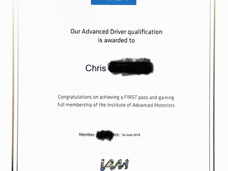 Congratulations to our chief driving instructor Christian for achieving the highest pass, a FIRST
