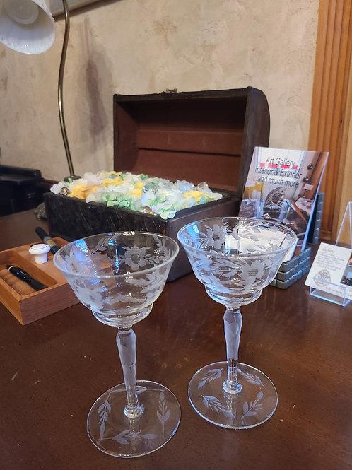 Glass/グラス Vintage Bohemian Sherry Glass Pair/ビンテージ・ボヘミアンシェリーグラスペア