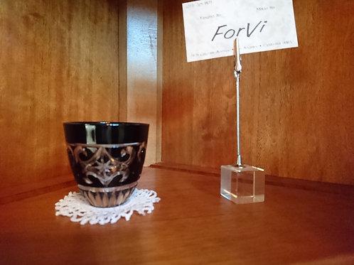 Glass/グラス Seto Kiriko Black Covered Sake Glass/瀬戸切子黒被せ酒盃 Handcarved/手彫り