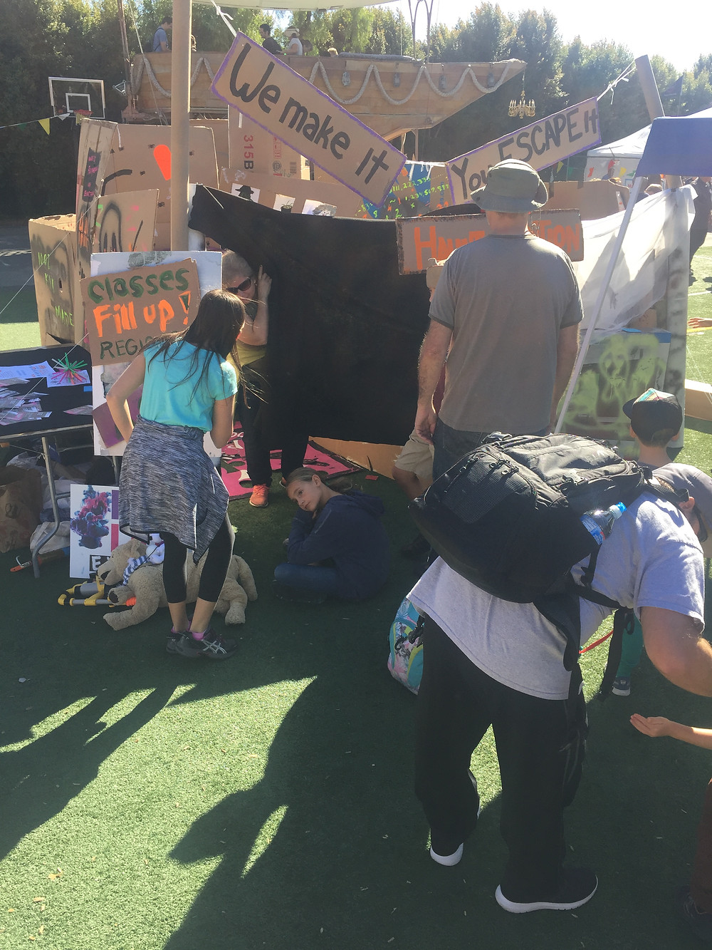 Escape Room at Maker Faire (sitting, waiting in 30 minute lines)