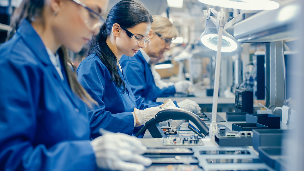 Female Electronics Factory Workers in Bl