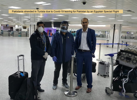 Stranded Pakistanis in Tunisia Going Home by a Special Flight arranged by the Mission