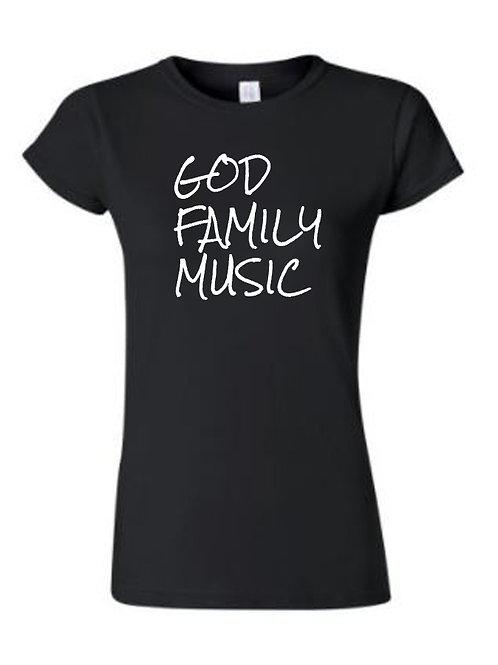 GOD FAMILY MUSIC Women's Fitted Black Tee