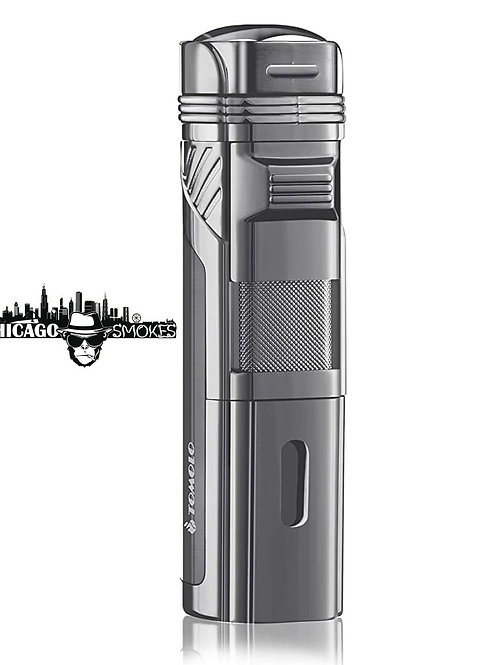 Chicago Smokes Torch Lighter Quadruple 4 Jet Flame with Cigar Punch
