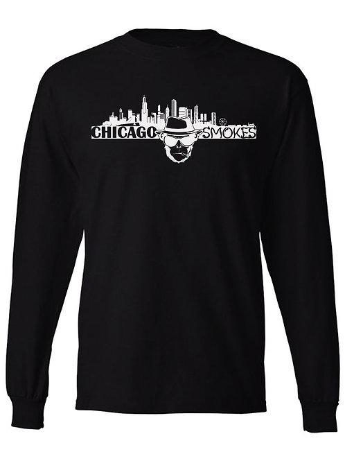 Chicago Smokes Long Sleeve Black Tee